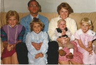 Easter with my family at my great-grandparents' house, Sam and Zola Weese, in Winston, MO. Me, dad, Amy, Ryan, mom, Christy.
